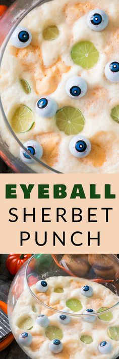 SPOOKY, NONALCOHOLIC Eyeball Orange Sherbet Punch is the best party drink! This easy 3 ingredient drink recipe is a kids favorite! I serve this Halloween punch in a big bowl with toy eyeballs on top!