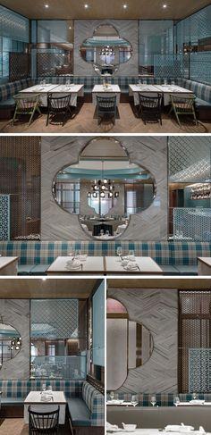 Дизайн интерьера современного ресторана в синих тонах и дереве
