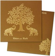 Splendid rich gold foil work on entire card front and on the matching envelope will mesmerize you and your guests. Shop now on www.regalcards.com .