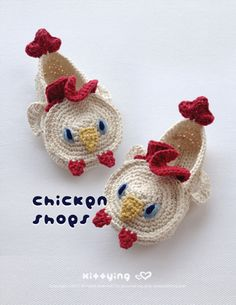 Chicken Toddler Booties Crochet PATTERN ( CB02-W-PAT ) by Kittying.com / mulu.us This pattern is designed in toddler sizes of 4 to 9.