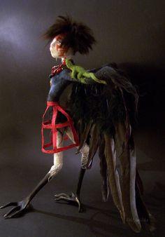 Bird, a needle felted art doll. $750.00, via Etsy.