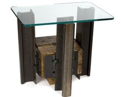 Railroad tracks and ties side table