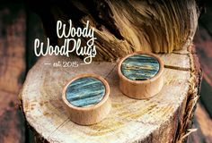 Plugs with blue maple inlay  wooden plugs  wood by WoodyWoodPlugs