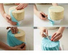 Great way to wrap a cake with fondant :) – Kuchen Rezept Cake Decorating Courses, Cake Decorating Techniques, Cake Decorating Tutorials, Cookie Decorating, Cake Decorating With Fondant, Decorating Ideas, Fondant Tips, Fondant Icing, Fondant Cakes