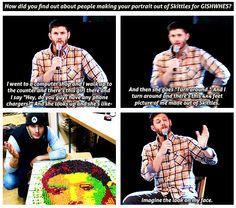 """Poor Jensen, the guys must dread GISHWHES."" Well, not Misha. Hahaha."