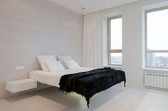 Witte minimalistische slaapkamer in Moskou | Slaapkamer ideeën