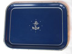 VINTAGE NAVAL TRAY - painted anchor tin serving/drink tray (c. 1950s). $10.00, via Etsy.