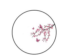 <b>Cross</b> <b>Stitch</b> Pattern - Pink Cherry <b>Blossom</b> Tree <b>Branch</b> and Butterflies ...