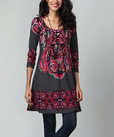 Look at this Charcoal Paisley Pin-Tuck Empire-Waist Tunic Dress on #zulily today!