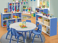 Top-quality classroom furniture—from traditional chairs & tables to mobile desks & other flexible seating options! Plus, shop rugs, storage units & more. Playroom Table, Playroom Wall Decor, Modern Playroom, Playroom Storage, Playroom Design, Playroom Ideas, Playroom Seating, Playroom Paint, Baby Playroom