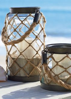 Add a group of our Nautical Rope Lanterns to a tabletop, on the patio, or in an entryway.