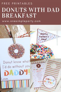 Celebrate Dad in style this Father's Day by hosting a donut breakfast in bed. Let him put his feet up with his favorite donut, mug of coffee and the newspaper. Check out these free printables for Donuts with Dad to get you started. Father's Day Breakfast, How To Make Breakfast, Mothers Day Crafts For Kids, Fathers Day Crafts, Father's Day Games, Dad Birthday, Girlfriend Birthday, Birthday Gifts, Father's Day Activities