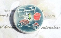 WHEELS! HANDMADE BUTTON mobility scooter round blue red basket adult ceramic large 2 hole texture hand carved by Faith Ann Originals on Etsy...