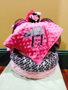 Pink and black Star Wars girl diaper cake