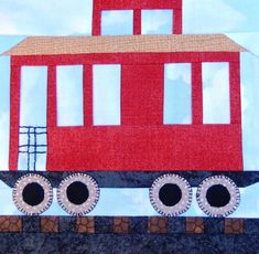 Caboose paper pieced PDF quilt pattern; baby boy's or child's quilt pattern; foundation paper pieced block; paper pieced train by MsPDesignsUSA on Etsy