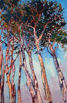 Cypress Sky, original oil painting of Monterey, California, by impressionist artist Erin Hanson