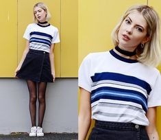 Get this look: http://lb.nu/look/8400441  More looks by Ebba Zingmark: http://lb.nu/ebbaz  Items in this look:  2hand Top, Asos Skirt, Suzywan Delux Choker, Adidas Shoes   #casual #sporty #street
