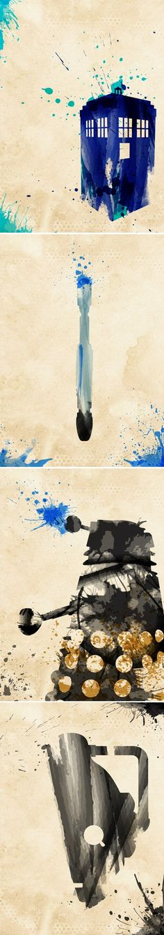Beautiful abstract splashy Doctor Who paintings.