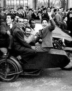 Enzo Sellerio: Coming out of the football stadium, Palermo, Italy, 1961   #TuscanyAgriturismoGiratola