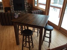42 Rustic Entertainment/Bar Table Bar Height By PlumbWoodDesign