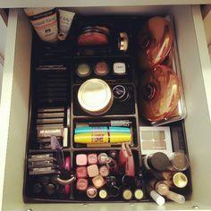 Makeup organization using office desk organizer