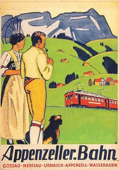 AP  APPENZELLER BAHNEN Train Posters, Railway Posters, Swiss Travel, Tourism Poster, Vintage Graphic Design, Picture Cards, Art Graphique, Travel And Tourism, Vintage Travel Posters