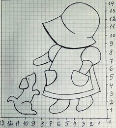 Quarto tranquilo: Tiny Sue. Figura (diagrama) e padrão. Applique no tecido.