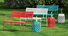 Outdoor benches; they're not just for parks anymore. Thanks to the Freeport Collection, they're brightly colored seating areas for your backyard! Made of heavy-duty steel in your choice of red, white, or teal. In-store only. #shopko