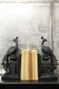 Set of 2 Regal Standing Peacock Bookends