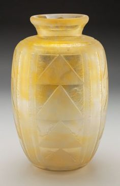 Daum Acid-Etched Art Deco Vitrified Yellow Glass