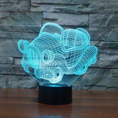 52e115d8f65 Adorable Cartoon Car 3D Optical Illusion Lamp - 3D Optical Lamp 3d Light