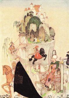 この山へと続く螺旋状の険しい道って、ラファエル前派のバーン・ジョーンズも好んで描いた構図。内田クンも「白雪姫幻想」で使ってますね。おとぎ話の定番構図だと思う。  'The six brothers riding out to woo'. Illustration by Kay Nielsen in East of the sun and west of the moon (1914), (198 x 150 mm), Alexander Turnbull Library, qRPr HODD NIEL 1914.