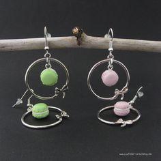 Boucles d'oreilles Macaron créole par cs atelier ♥ Polymer clay mini macarons earrings