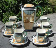 Antique Chocolate Service | Vintage Orange and Green Art Deco Noritake Chocolate Pot Tea Set ...