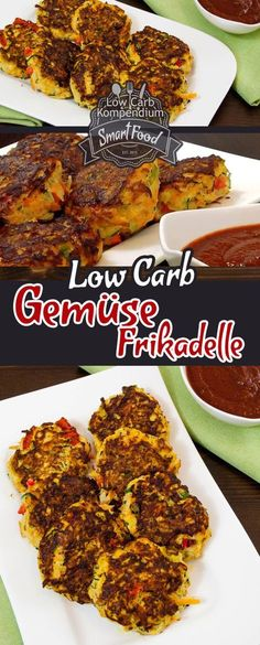 Gemüse-Frikadellen Low-Carb & vegetarisch - Viel gesundes Gemüse handlich & lecker verpackt als Frikadelle. Dazu eine würzige Tomatensoße. Schmeckt kalt & warm hervorragend :)