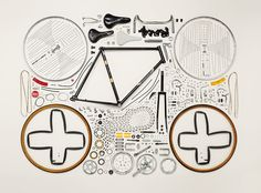 """Photography series """"Things Come Apart"""" by Canadian photographer Todd McLellan pictures satisfying disassembly and organization of everyday objects. Pimp Your Bike, Things Organized Neatly, Exploded View, Image Beautiful, William Morris, Plakat Design, Coming Apart, Colossal Art, Bicycle Art"""