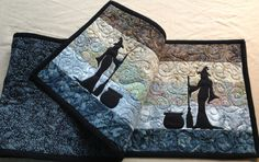 Witch Cauldron & Broom Altar or Table Runner Quilted Pagan Wiccan Sabbat Samhain