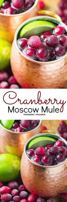 Cranberry Moscow Mule by Noshing With The Nolands is a festive cocktail you'll want to start serving now and throughout the holiday season!