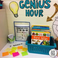 Genius Hour, also known as Passion Projects, encourage individuals to ask  questions, pursue personal interests, research, and CREATE something to  showcase their new knowledge. Genius Hour is based on a business practice  developed by Google, where they encouraged their employees to work on thei