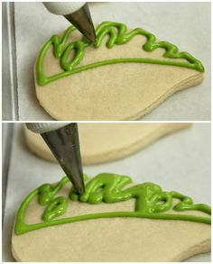 Tropical Leaf Cookies  - step by step how to frost these cookies.