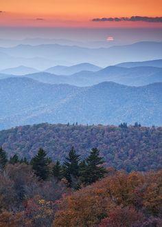 """Sunset. Blueridge Parkway."" by Rob Travis on Flickr ~ Sunset, Blue Ridge Mountains, North Carolina"