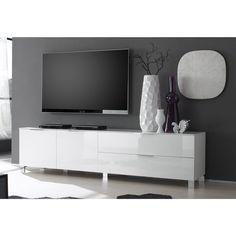Meuble bas TV 2 portes, 1 tiroir, 1 porte abattante largeur 180 cm