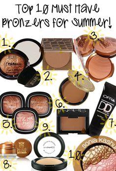 Top Ten Must Have Bronzers for Summer!  Psss: le Bronzer Tarte, lui en haut dans le centre c'est le PLUS MEILLEUR