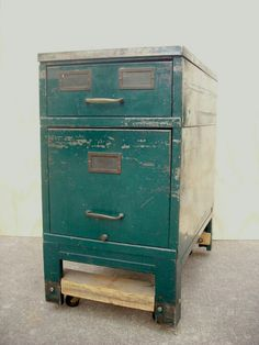 Turquoise filing cabinet