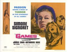 "Movie Poster for the psychological thriller ""Games"" (1967), directed by Curtis Harrington and starring James Caan"