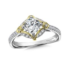 Diamond Halo Engagement Ring Mounting in 14K White/Yellow Gold (.23 ct. tw.) For more information on purchasing this ring please contact us at 570-383-8339 or check us out at www.georgeandcodiamonds.com