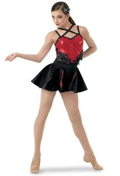 Weissman® | Biketard w/ Sequins & Satin Back Skirt