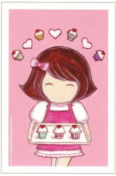 Cupcake girl art....so cute just make 9 cupcakes and then little chefs all around