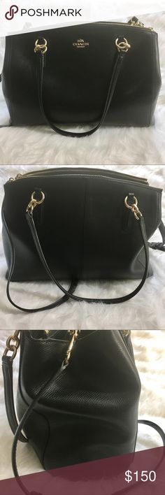 "Authentic Coach handbag EUC. Christie carryall style. Inside zip, cell phone and multifunction pockets. Snap closure fabric lining.  Zip compartments. Handle with 8"" drop. Strap with 22"" drop for shoulder or crossbody wear. 12 1/2"" L, x 8 1/2"" H x 4 1/4"" W. Gold colored hardware. Handles and straps in excellent condition. No wear or fraying. Interior very clean. Colors may vary slightly to lighting and photos. No holes, rips or stains. ❌Smoke and pet free home. ⚡️Same/next day shipping…"