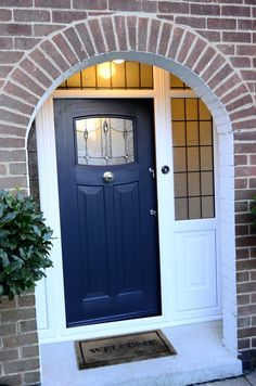 Rockdoor Newark are very popular. Rockdoors are the only composite door manufacturer to make a door so suited to the Fitted from Brick Porch, Front Door Porch, House Front Door, House With Porch, Porch Doors Uk, Porch Entrance, Front Porches, Exterior Door Colors, Exterior Front Doors